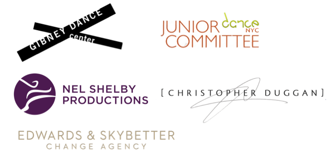 Logos for Gibney Dance Center, Dance/NYC Junior Dance Committee, Nel Shelby Productions, Christopher Duggan, and Edwards & Skybetter