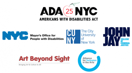 Logos for ADA NYC, NYC Mayor's office for People with Disabilities, CUNY, John Jay College, Art Beyond Sight, and Alliance for Inclusion in the Arts