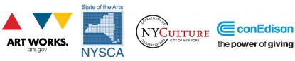Logos for Art Works, NYSCA, NYC Department of Cultural Affairs, and ConEdison