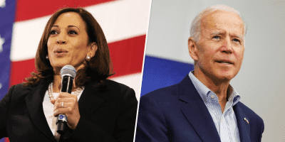 An image of Kamala Harris speaking into a microphone and Joe Biden