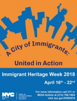 Mayor's Office of Immigrant Affairs Immigrant Heritage Week flyer, blue and orange with NYC skyline