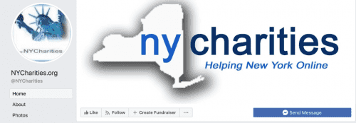 A screenshot of the NYCharities Facebook page