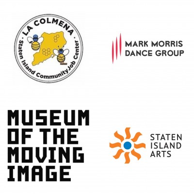 Collage of logos for La Colmena, Mark Morris Dance Group, Museum of the Moving Image, and Staten Island Arts