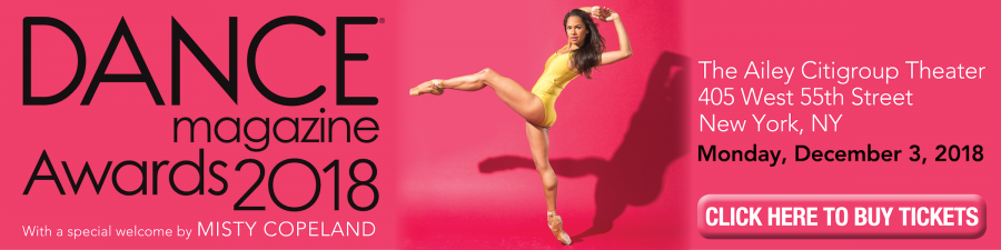 Dance Magazine Awards 2018 with a special welcome by Misty Copeland (photo of Copeland in yellow leotard on pink background)