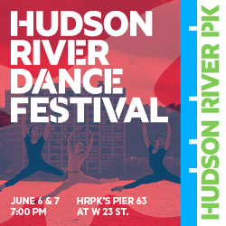 Dancers perform in front of the Hudson River