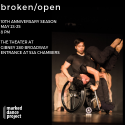 two male dancers, one in a manual wheelchair and the other on top of him doing an inversion