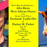 Photo of Daaimah Taalib-Din and Darian Parker.  Also there are event details.