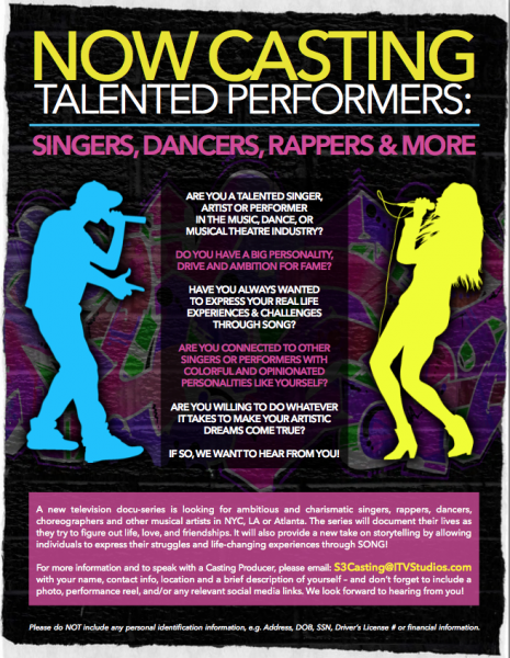 NOW CASTING TALENTED PERFORMERS: DANCERS, SINGERS, RAPPERS