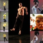 Left: Steve Paxton, stills from video by Cathy Weis; Center: Nicolas Sciscione of the Stephen Petronio Company, photo by Julie L