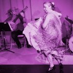 Aurora Reyes dancing with Flamenco Latino at 2016 home-based season, tinted magenta