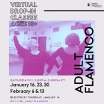 Two dancers face each other in flamenco pose. Text on the image includes class dates.