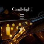 "Dimly lit candles surrounding a violin, text reading ""Candlelight, Fever Original Event"""