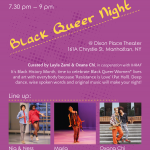 Purple flyer with dancers and poets