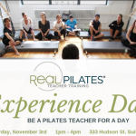 "Group listening to lecture in Pilates Studio. Text reads: ""Real Pilates Teacher Training. Experience Day"""