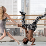 From left to right: dancer Michele Wiles on point shoes with dancer Jay Donn, holding hands with Michele while upside-down