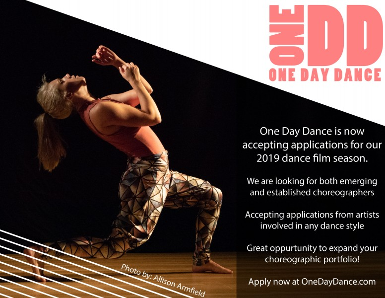 one day dance seeking choreographers for our 2019 dance film season