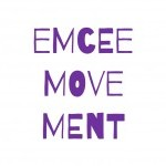 "purple and white logo ""emceemovement"""