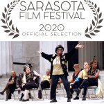 Award plaque for Sarasota Film Festival 2020; below a photo of dancer dressed in black and gold in a celebratory pose