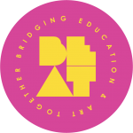 Pink circular logo with yellow letters spelling out BEAT: Bridging Education & Art Together
