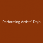 Performing Artists' Dojo in white writing on brick red background