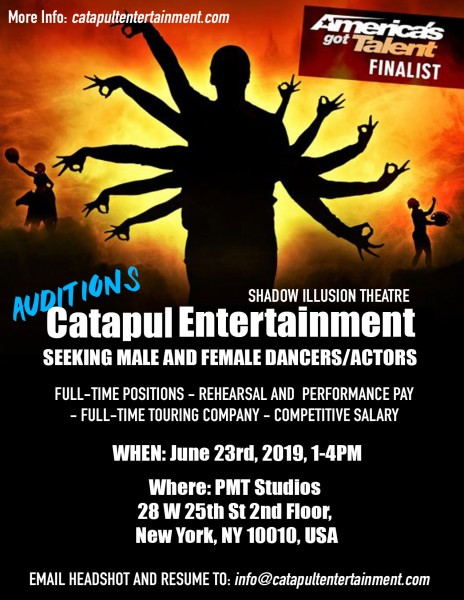 MALE AND FEMALE DANCERS/ACTORS WANTED - CATAPULT ENTERTAINMENT