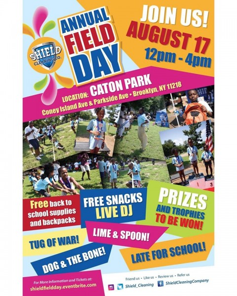 A colorful flyer for Annual Shield Field Day.