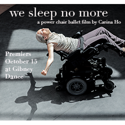 Dancer Judith Smith leans back in her power wheelchair with arms outstretched and eyes closed. The sunlight above casts her shadow on the ground.