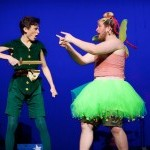 Two actors arguing with each other, one dressed as Peter Pan and the other as Tinkerbell