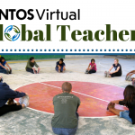 A JUNTOS Movement workshop. Dancers stretch in a circle. Text reads: JUNTOSVirtual Global teachers.