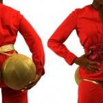 Diptych of artist Holly Bass wearing red coveralls: on her backside, 2 golden orbs and the front, a cumberbund that spells SEX
