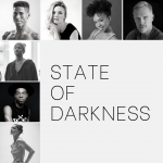 "Photo collage of the seven dancers performing Molissa Fenley's ""State of Darkness"" solo at The Joyce Theater"
