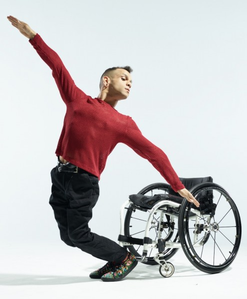 a picture of JanpiStar, balancing in front of their wheelchair