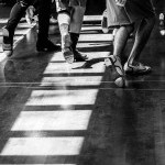 Black and white image of three tap dancers' feet at the School of Jacob's Pillow