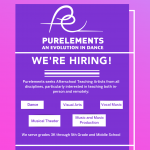 Poster for Purelements an Evolution in Dance, A purple gradient background with a white logo and white writing calling for TAs