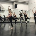 Group of dancers rehearsing in a studio