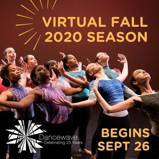 "Dancers Arched back, looking upward at text ""Virtual Fall 2020 Season"""