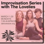 """Improvisation Series with The Lovelies"" Title at the top with an Image of three dancers sitting below it."