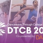 "Text: ""Dancewave Through College and Beyond"" with three pictures behind, including a couple speakers and two dancers auditioning"