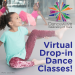 "Young kid dancing in studio with text ""Virtual Drop-in Dance Classes"""
