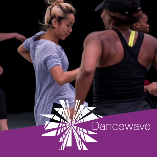 Dancers happy and smiling with the Dancewave logo superimposed.