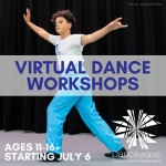 "Dancer with overlaid text ""Virtual Dance Workshops"""
