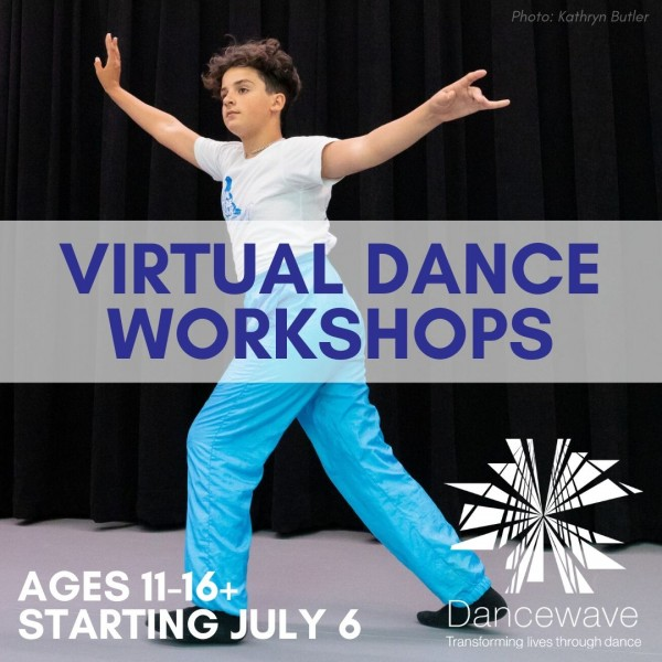 "Dancer overlaid with text: ""Virtual Dance Workshops"""