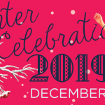 "A red backdrop with a tree branch jutting out covered in snow. The text on the image announces""Winter Celebration 2019"""