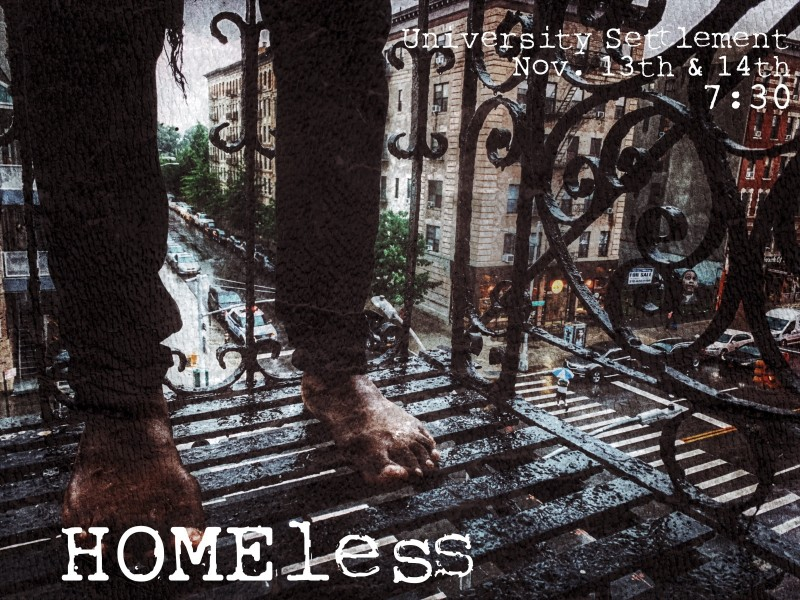 HOMEless, view of a person's legs and bare feet while standing on a fire escape in the rain