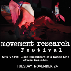 An advertisement for the Movement Research Festival Event entitled GPS Chats. The ad features a dancer's bareback bent over her legs in the shadow of red light.