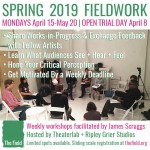 FIELDWORK flyer w/listed benefits: Share WIPs & Feedback with Fellow Artists, Learn What Audiences See/Hear/Feel, Hone Your C...