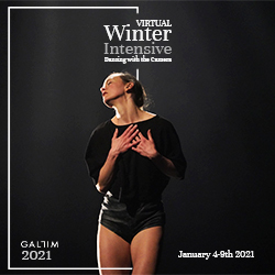 A dancer in shades of black against a black backdrop clutches her hands to her collarbone. Her head tips up and back and her body is caught in a beam of light, silhouetted. White text reads