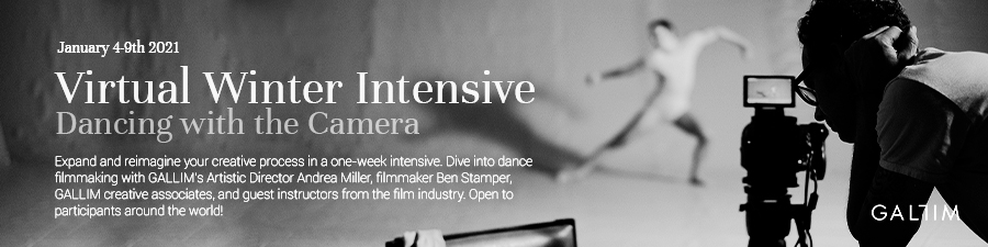 In the foreground, a filmmaket peers into his camera's viewfinder. Beyond him is a dancer moving expansively, arms outstretched, one leg brushing the floor. Large text reads