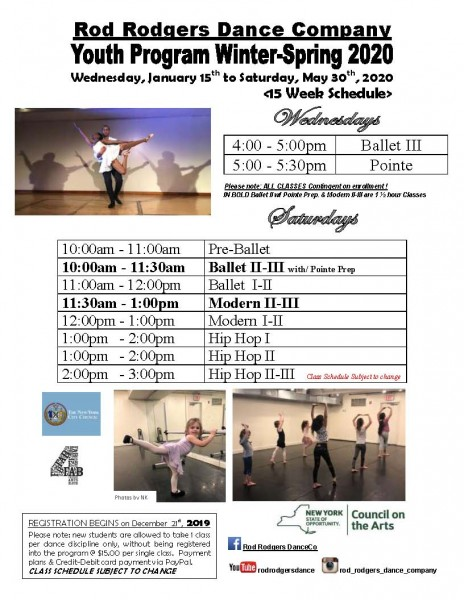ROD RODGERS DANCE COMPANY IS PLEASED TO ANNOUNCE THE WINTER-SPRING YOUTH PROGRAM CLASSES FOR 2020 all levels welcome - ages 4 to