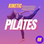 Pilates in white block letters overlaid on a dance photo of Mikayla Klein. Kinetic Kinship logo on top.